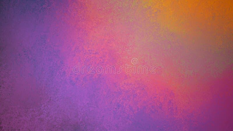Abstracte kleurrijke achtergrond met oud afgesponst en gesmeerd verfontwerp, purpere roze sinaasappel en geel royalty-vrije illustratie