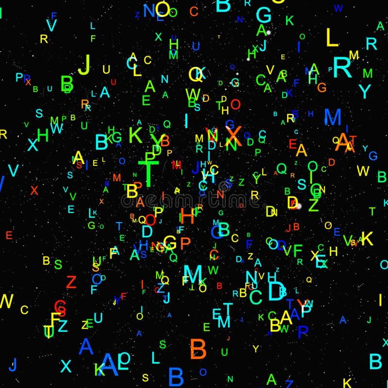 Abstracte kleurrijke alfabetvlieg op zwarte achtergrond stock illustratie