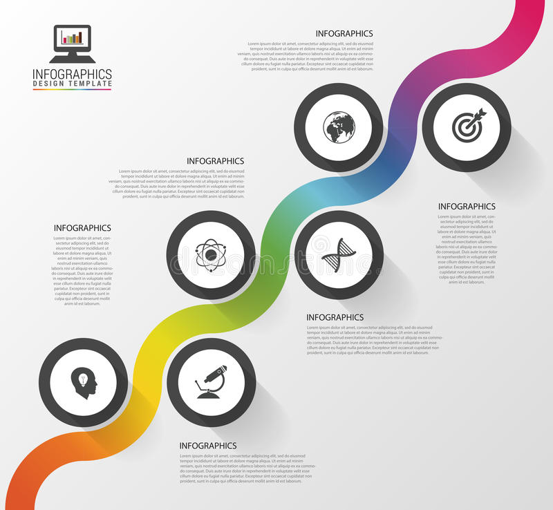 Abstracte kleurrijke bedrijfsweg Chronologie infographic malplaatje Vector illustratie stock illustratie