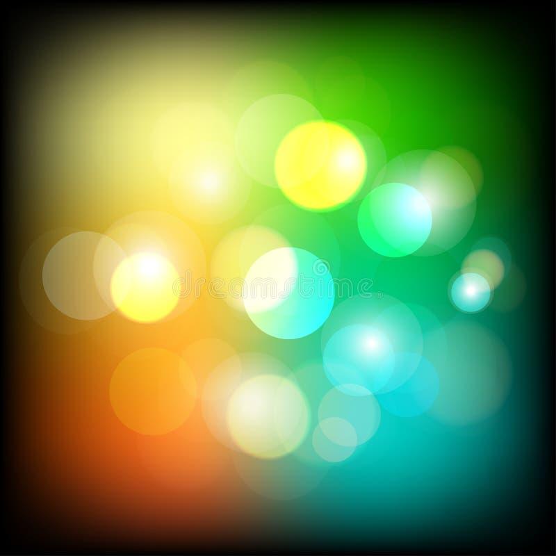 Abstracte kleurrijke bokeh lichte achtergrond De nacht steekt achtergrond aan Vector Illustratie vector illustratie