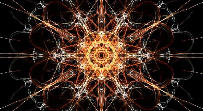 Abstracte kleurrijke fractal achtergrond in oranje en witte kleur op zwarte vector illustratie