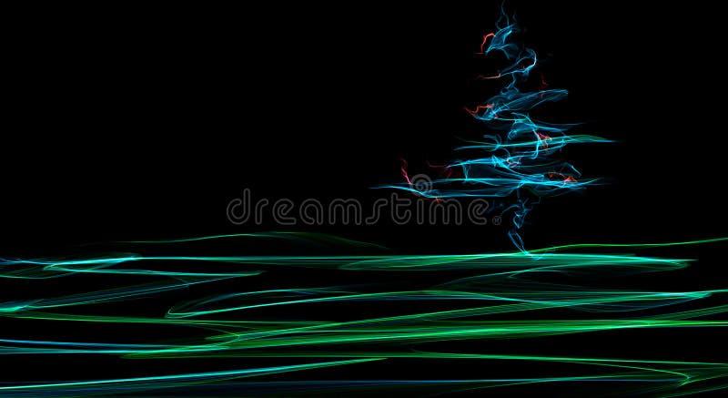 Abstracte kleurrijke fractal Kerstmisboom op land in groene en blauwe kleur op zwarte stock illustratie