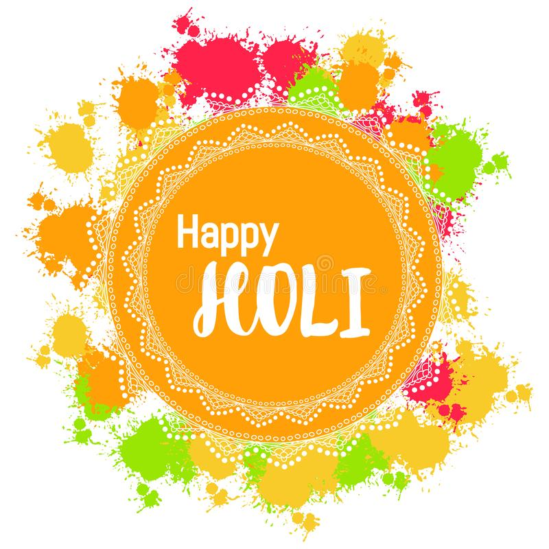Abstracte kleurrijke Gelukkige Holi-achtergrond voor Festival van Kleuren c stock illustratie