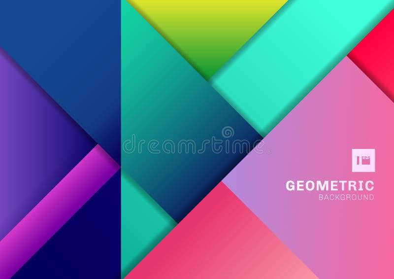 Abstracte kleurrijke geometrische vorm die 3D afmetingsachtergrond overlappen Malplaatje moderne vlakke materiële trillende kleur royalty-vrije illustratie