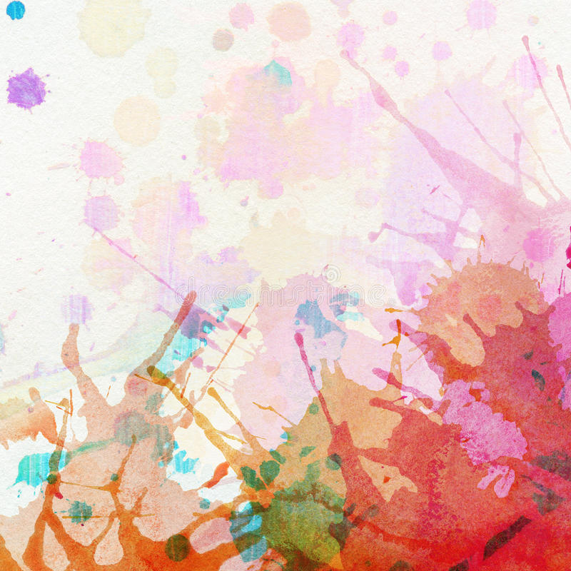 Abstracte kleurrijke geschilderde waterverfplons en stock illustratie