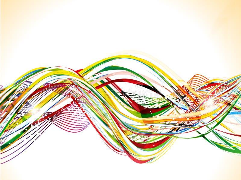 Abstracte kleurrijke glanzende golfachtergrond royalty-vrije illustratie
