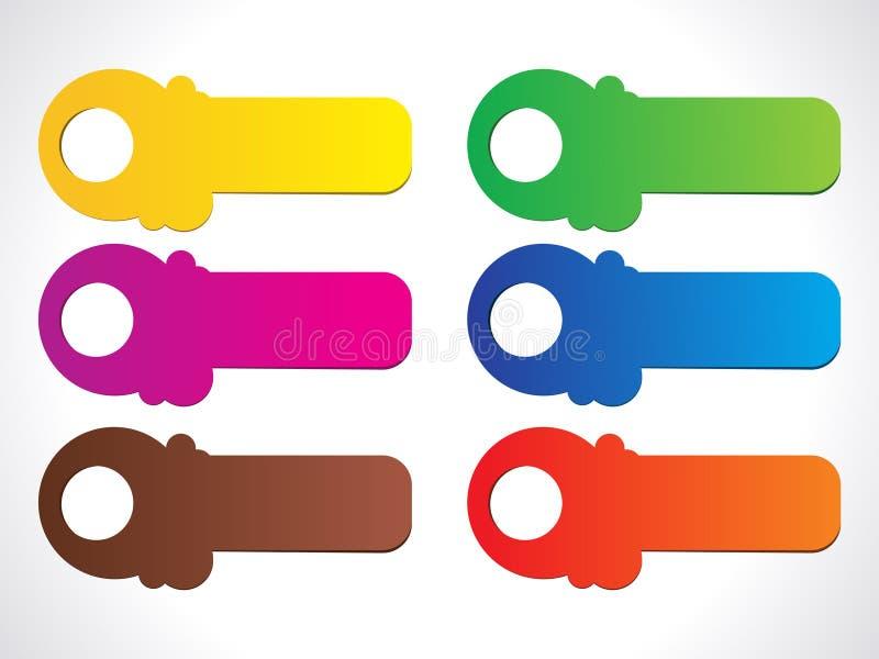 Abstracte kleurrijke glanzende stickers royalty-vrije illustratie