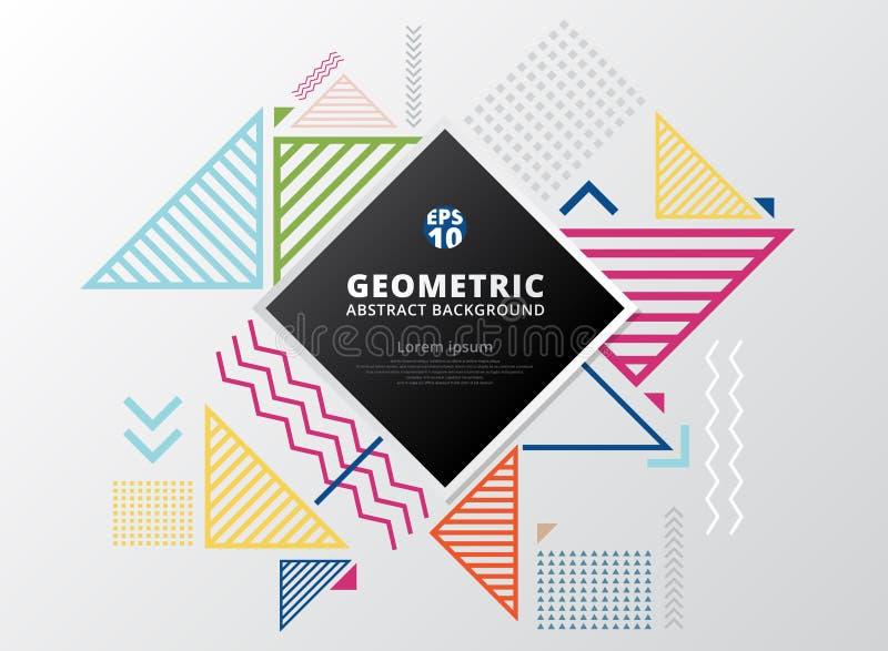Abstracte kleurrijke golvende lijnen, pijl, vierkanten, driehoeken geometr stock illustratie