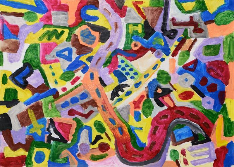 Abstracte kleurrijke hand geschilderde achtergrond stock illustratie