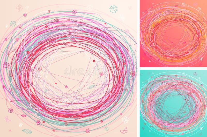 Abstracte kleurrijke hand getrokken achtergronden vector illustratie