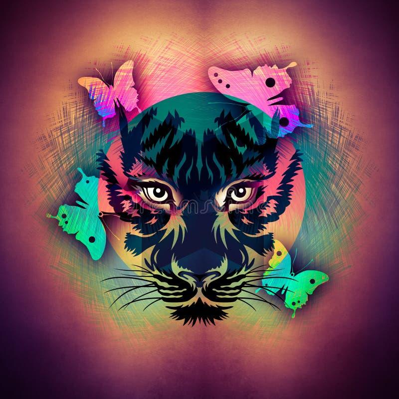 Abstracte kleurrijke illustratie van tijger met verfplonsen vector illustratie