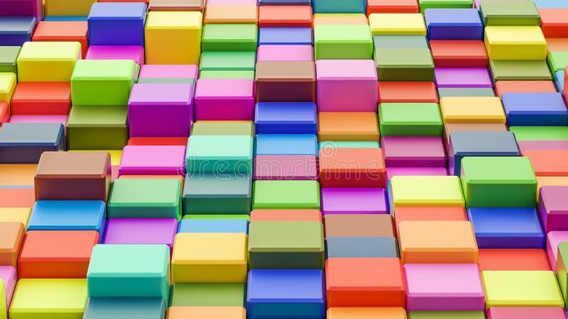 Abstracte kleurrijke kubussenachtergrond in 8K 3D resolutie, royalty-vrije illustratie
