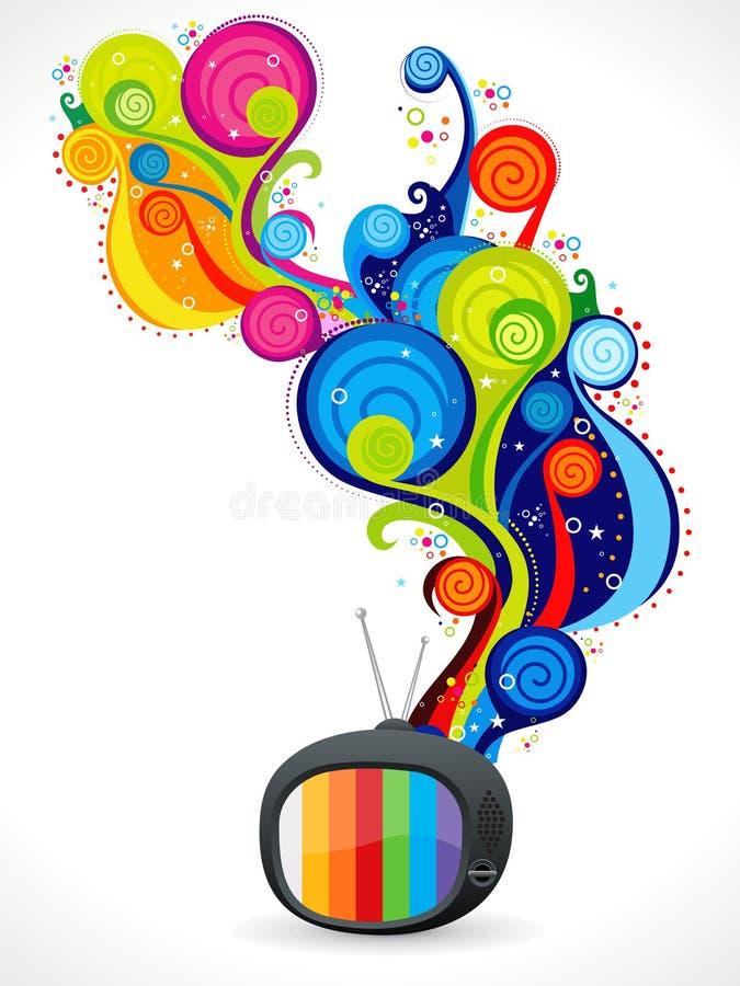Abstracte kleurrijke magische televisie royalty-vrije illustratie