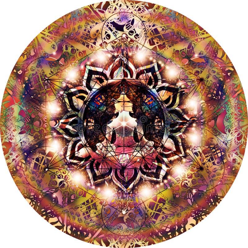Abstracte kleurrijke mandala met yogacijfer royalty-vrije illustratie