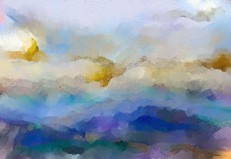 Abstracte kleurrijke olie, acrylverf op canvastextuur Hand getrokken borstelslag, de achtergrond van olieverfschilderijen stock illustratie