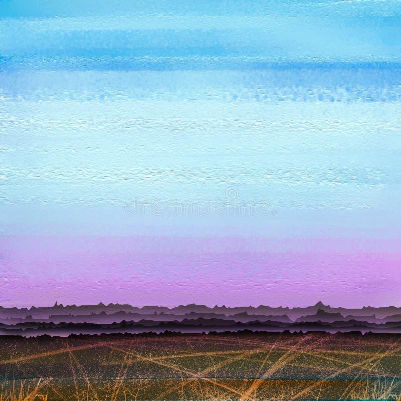 Abstracte kleurrijke olie, acrylverfkwaststreek op canvastextuur Semi abstract beeld van landschap het schilderen achtergrond stock foto's