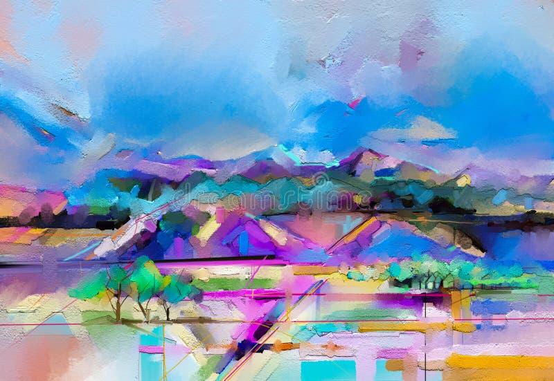Abstracte kleurrijke olie, acrylverfkwaststreek op canvastextuur Semi abstract beeld van landschap het schilderen achtergrond vector illustratie