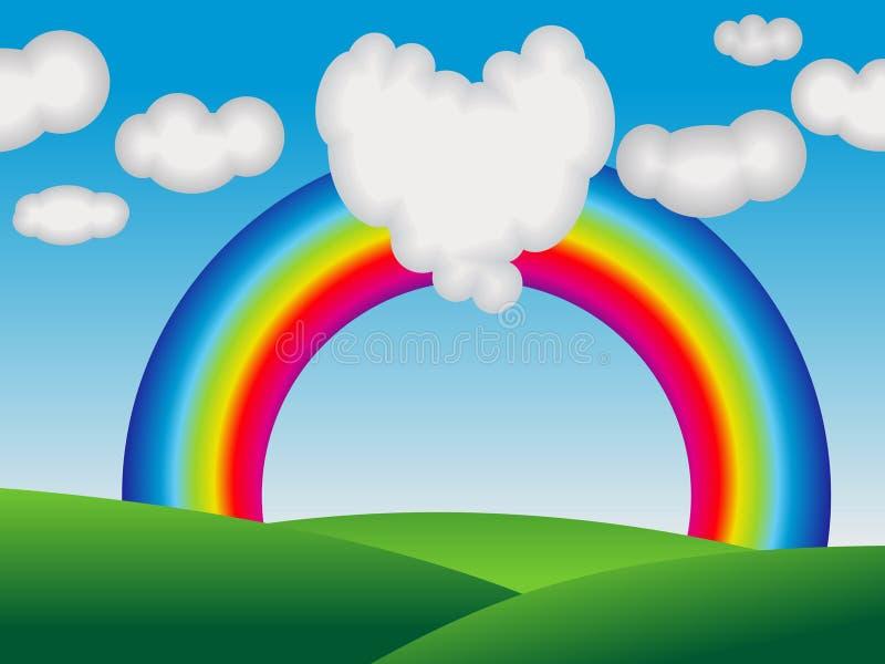 Abstracte kleurrijke regenboog met liefdewolk stock illustratie