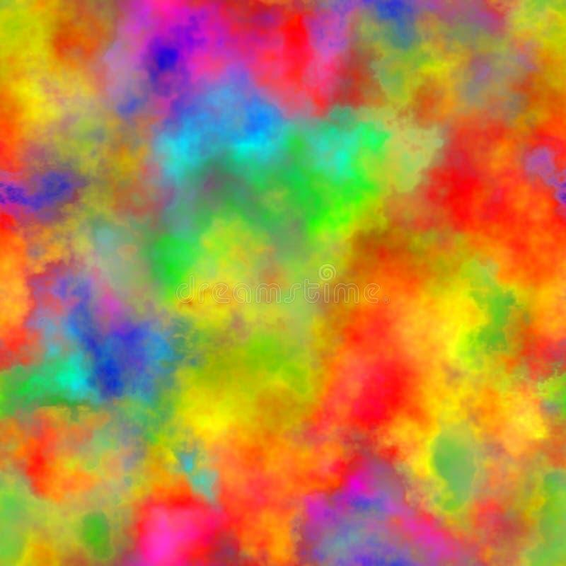 Abstracte kleurrijke rook, Veelkleurige wolken, Regenboog bewolkt patroon, Onscherp kleurenspectrum, Naadloze textuurachtergrond stock illustratie