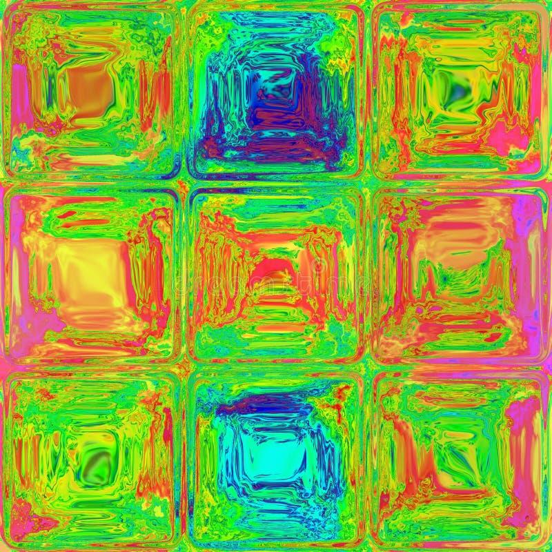 Abstracte kleurrijke roze groene gele blauwe kubustegels royalty-vrije illustratie