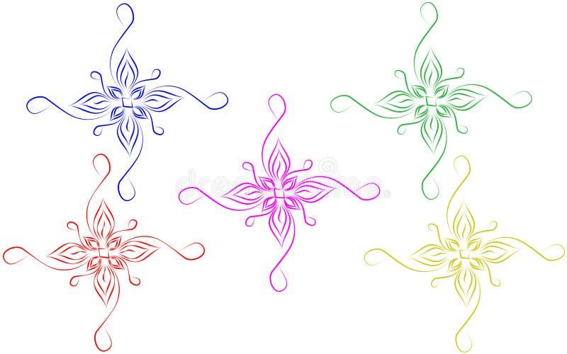 Abstracte kleurrijke sierontwerpelementen met witte achtergrond stock illustratie