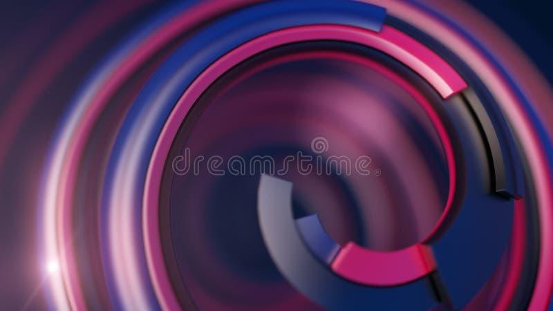 Abstracte kleurrijke spiraal op donkere achtergrond het 3d teruggeven vector illustratie
