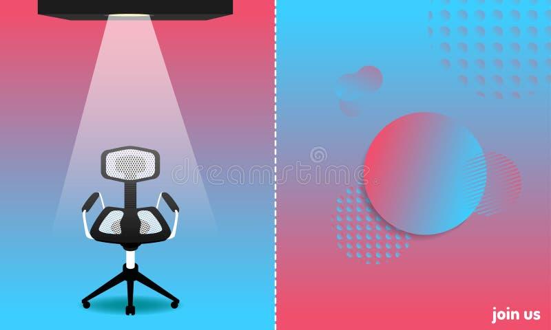 Abstracte kleurrijke stijl wij en de nieuwe leden die van het banenteam huren een stoel voor kandidaat Sluit me aan bij ons Vecto stock illustratie