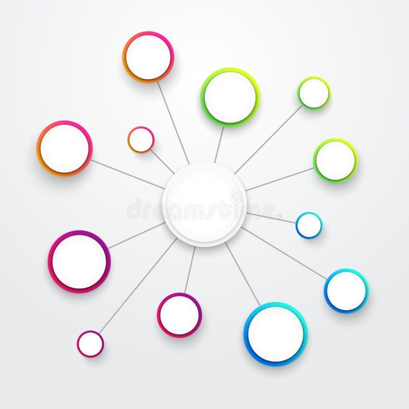 Abstracte Kleurrijke Vector 3d Grote Meningskaart Infographic Het element van het Web stock illustratie