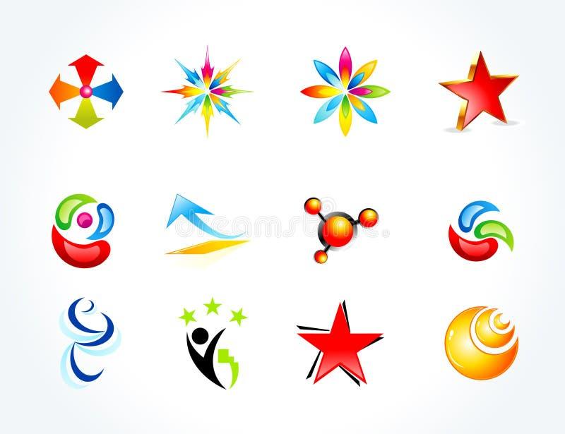 Abstracte kleurrijke veelvoudige bedrijfsmalplaatjes stock illustratie