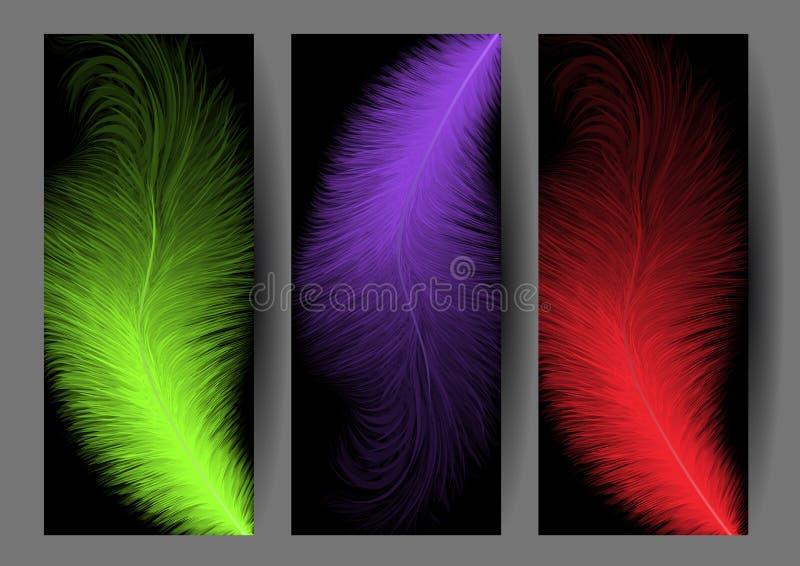 Abstracte kleurrijke veerbanners royalty-vrije illustratie