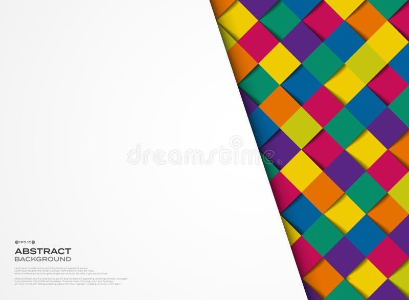 Abstracte kleurrijke vierkante geometrische de dekkingsachtergrond van het patroonontwerp Illustratie vectoreps10 royalty-vrije illustratie
