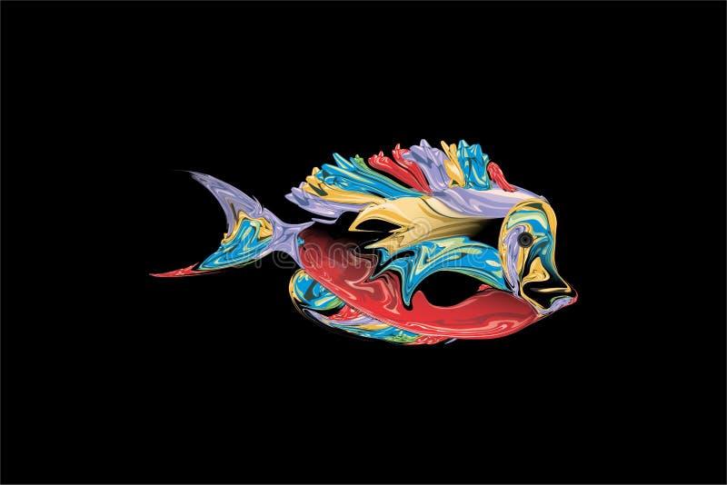 Abstracte kleurrijke vissen met zwarte Achtergrond Vector illustratie royalty-vrije illustratie