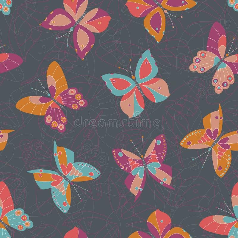 Abstracte Kleurrijke Vlinders op Donker Grey Textured Background Vector Seamless-Patroon Gewaagde en Heldere Insectentextuur stock illustratie