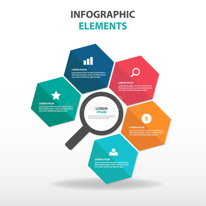 Abstracte kleurrijke zeshoek met elementen vergrootglas de bedrijfs van Infographics, vlakke het ontwerpvector van het presentati royalty-vrije illustratie
