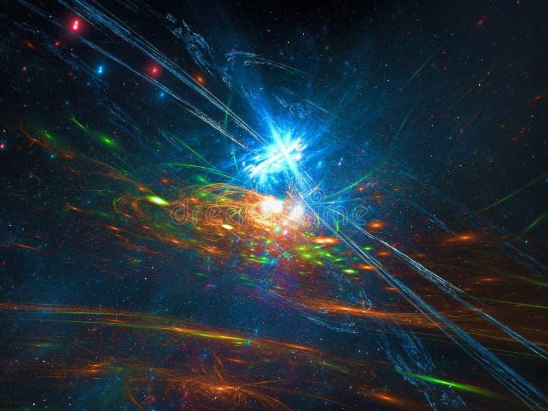 Abstracte kosmosachtergrond met sterren en melkweg - digitaal geproduceerd beeld royalty-vrije stock afbeelding