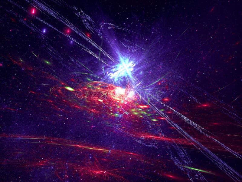Abstracte kosmosachtergrond met sterren en melkweg - digitaal geproduceerd beeld stock illustratie