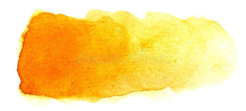 Abstracte krantekopachtergrond Een vormeloze langwerpige vlek van gouden oranjegele kleur Gradiënt van dark aan licht stock afbeeldingen