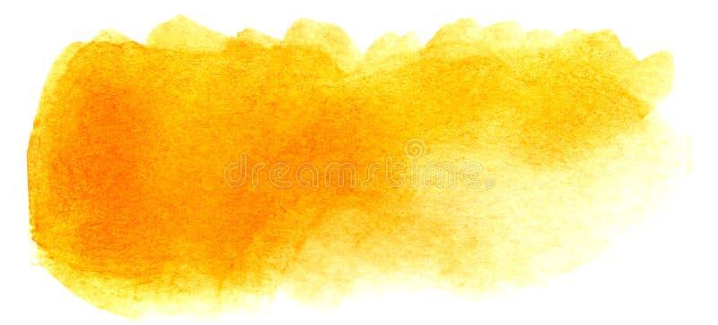 Abstracte krantekopachtergrond Een vormeloze langwerpige vlek van gouden oranjegele kleur Gradiënt van dark aan licht royalty-vrije illustratie