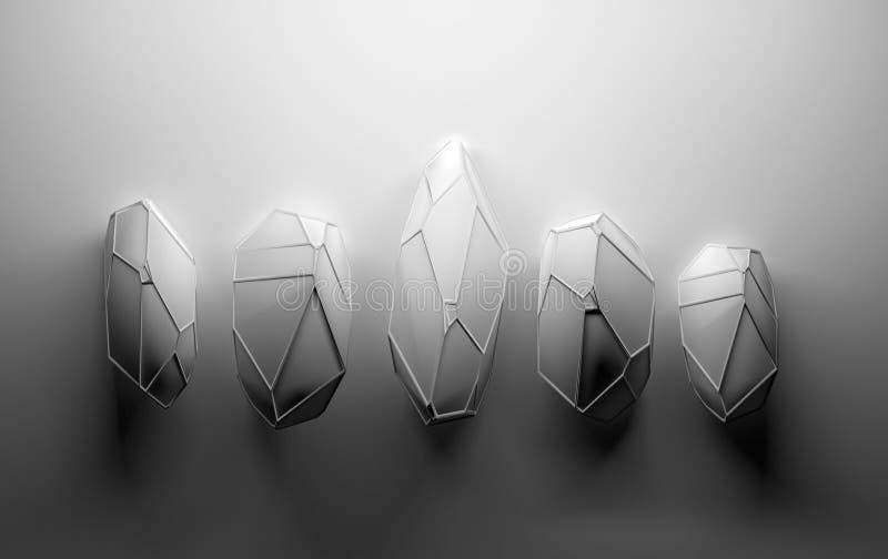 Abstracte kristallen in grijze kleur vector illustratie