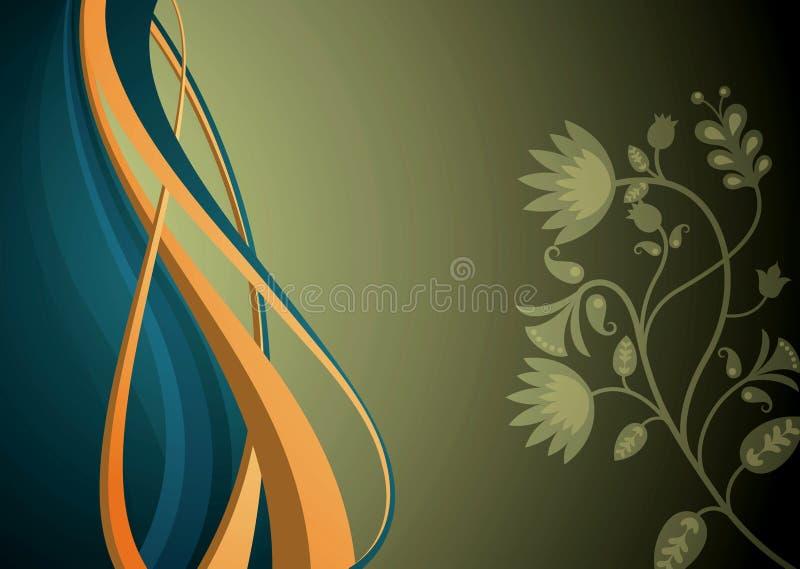 Abstracte Kromme en Bloemen stock illustratie