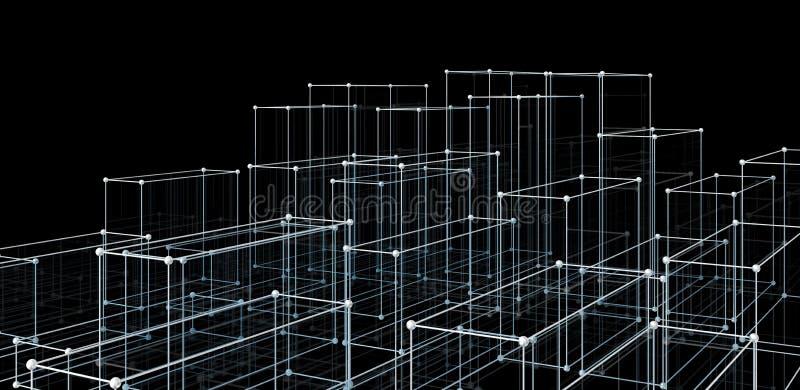 Abstracte kubussen De achtergrond van de netwerkverbinding stock illustratie