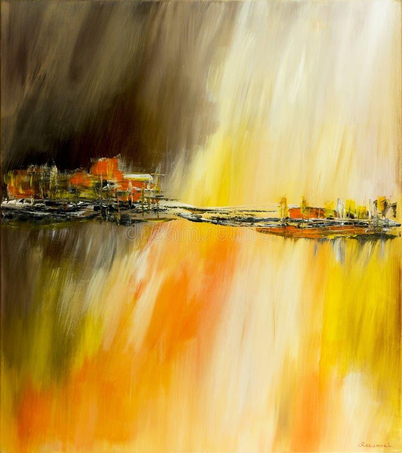 Abstracte kunstachtergrond Hand het getrokken acryl schilderen stock illustratie