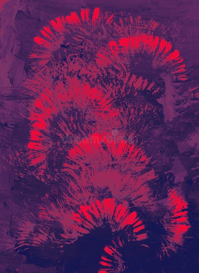 Abstracte kunstachtergrond Modern art Multicolored heldere textuur Landschap met rivier en bos royalty-vrije stock afbeelding