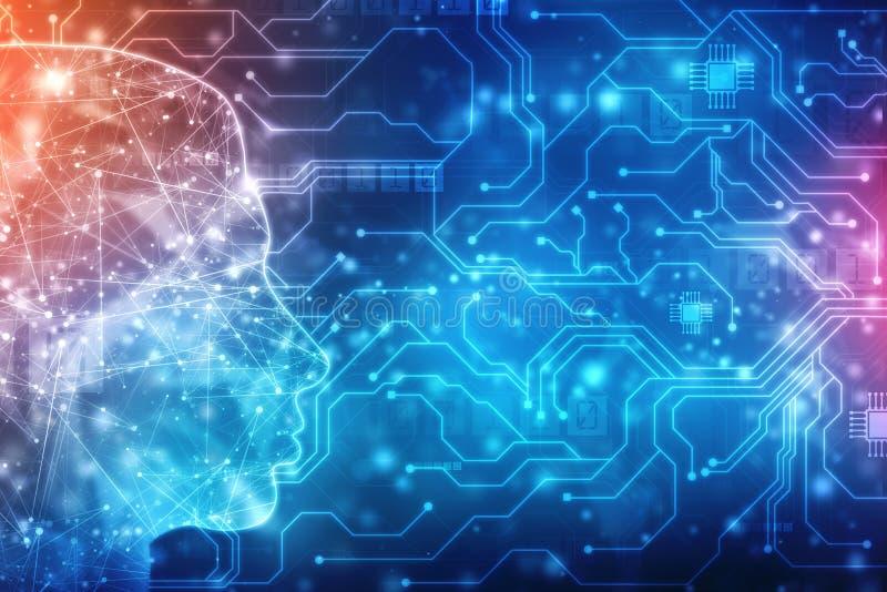 Abstracte kunstmatige intelligentie Creatief Brain Concept, de achtergrond van het Technologieweb vector illustratie
