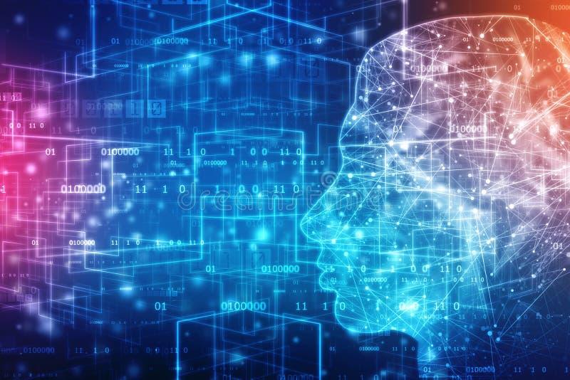 Abstracte kunstmatige intelligentie Creatief Brain Concept, de achtergrond van het Technologieweb stock illustratie