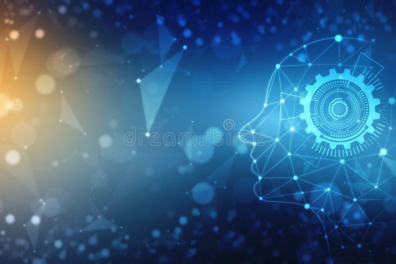 Abstracte kunstmatige intelligentie De achtergrond van het technologieweb, Virtueel concept, futuristische abstracte achtergrond stock illustratie