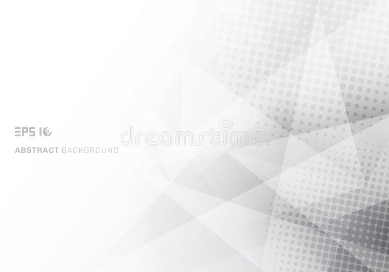 Abstracte lage poly witte en grijze driehoekenveelhoek en halftone met exemplaar ruimte witte achtergrond vector illustratie