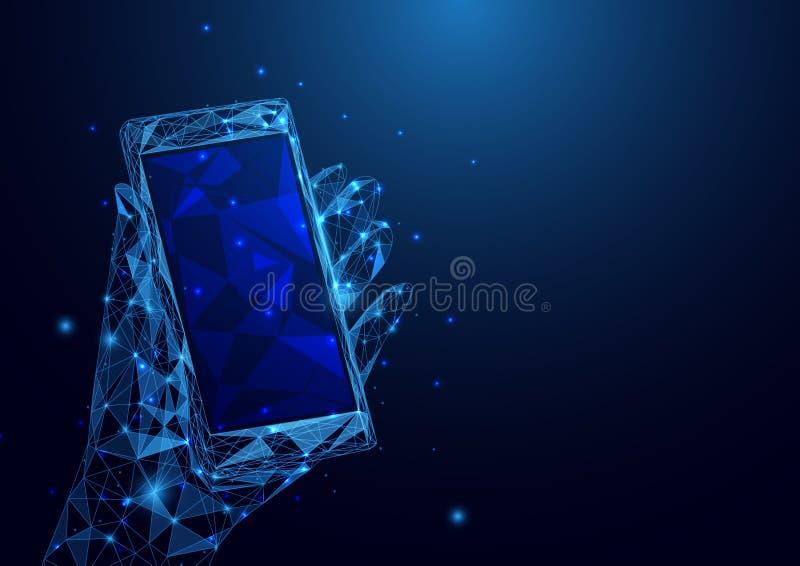 Abstracte lage veelhoek een smartphone wireframe netwerk van de handholding op blauwe achtergrond royalty-vrije illustratie