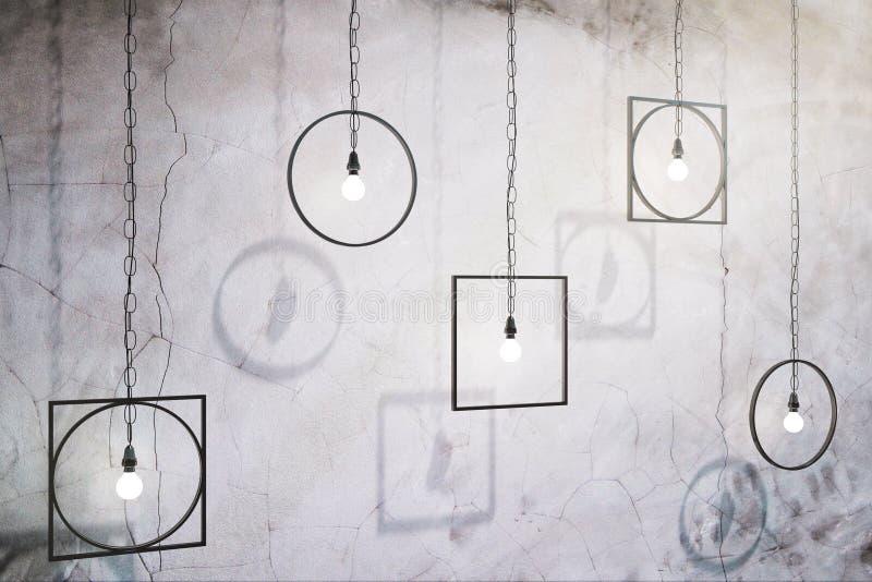 Abstracte lampen op concrete muur royalty-vrije illustratie