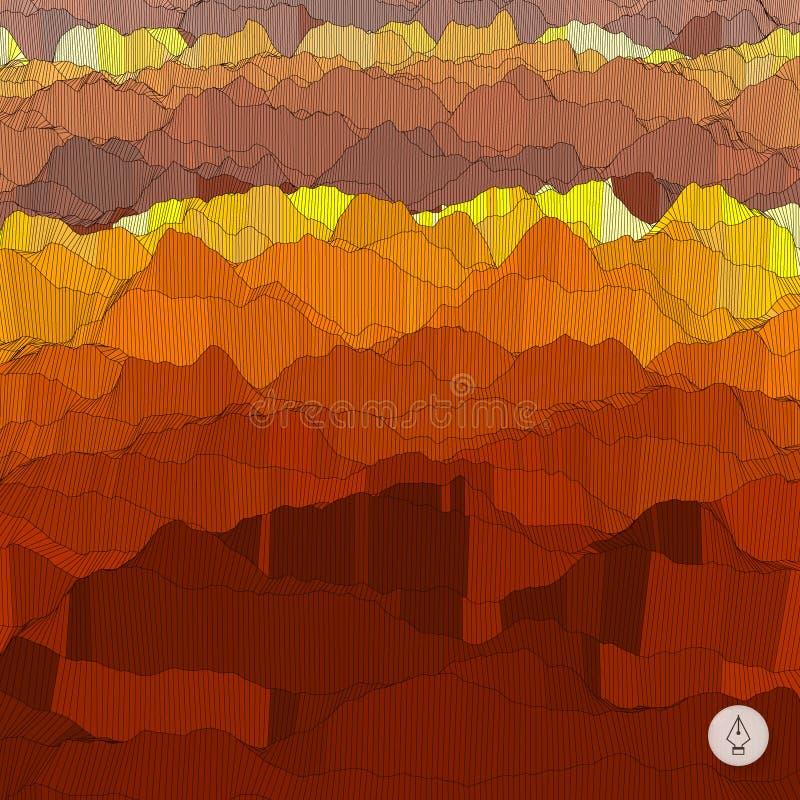 Abstracte landschapsachtergrond Mozaïekvector royalty-vrije illustratie